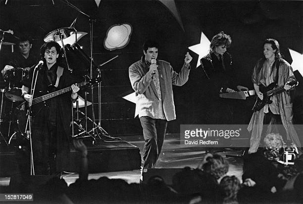 English pop group Duran Duran performing on stage 1985 Left to right Roger Taylor John Taylor Simon Le Bon Nick Rhodes and Andy Taylor
