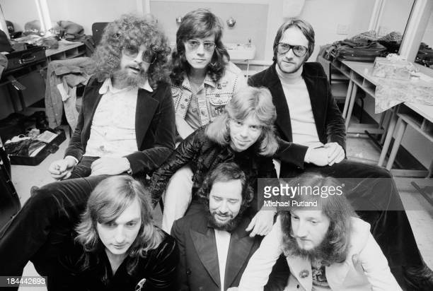 English pop group Electric Light Orchestra in a BBC dressing room before an appearance on the TV music show 'Top Of The Pops' London 11th October...