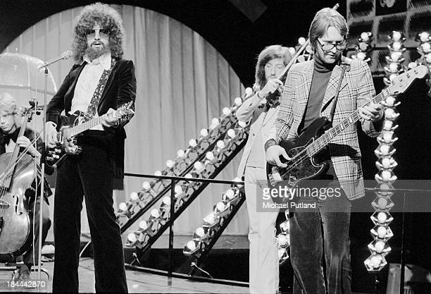 English pop group Electric Light Orchestra rehearsing for their appearance on the BBC TV music show 'Top Of The Pops' London 11th October 1973 The...