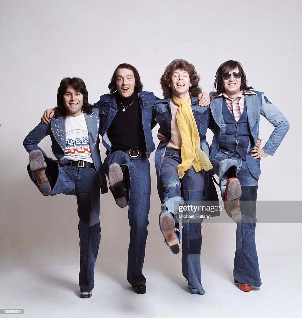 English pop group Mud, London, 1975. Left to right: bassist Ray Stiles, drummer Dave Mount (1947 - 2006), guitarist Rob Davis and singer Les Gray (1946 - 2004).