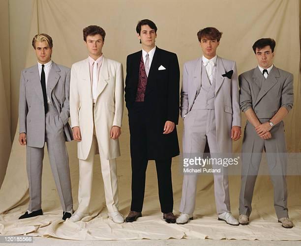 English pop group Spandau Ballet circa 1985 Left to right saxophonist Steve Norman guitarist Gary Kemp singer Tony Hadley bassist Martin Kemp and...