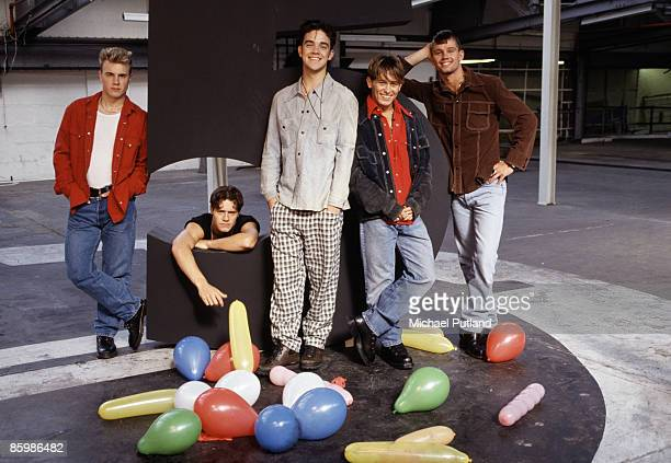 English pop group Take That in London 1991 From left to right Gary Barlow Howard Donald Robbie Williams Mark Owen and Jason Orange
