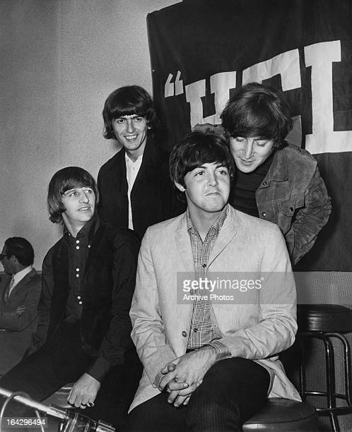 English pop group The Beatles at a press conference for the release of their album 'Help' at the Capitol Records Tower Los Angeles California 29th...