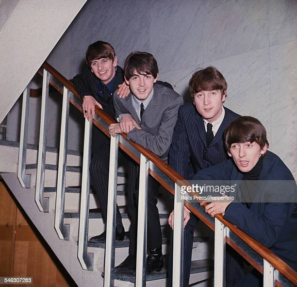 English pop group The Beatles posed on a staircase in 1964 From left to right Ringo Starr Paul McCartney John Lennon and George Harrison