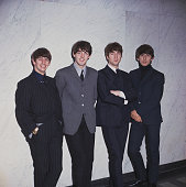 English pop group The Beatles posed standing against a wall in 1964 From left to right Ringo Starr Paul McCartney John Lennon and George Harrison