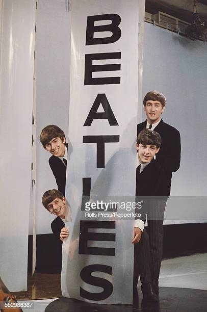 English pop group The Beatles posed together at Alpha TV Studios in Birmingham during filming of ABC TV's television show Lucky Stars on 18th August...