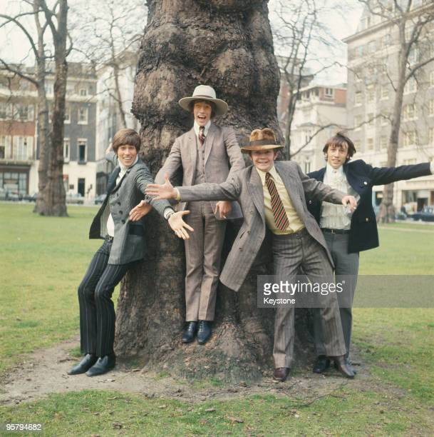 English pop group the Bee Gees in London 24th April 1967 From left to right Barry Gibb Robin Gibb drummer Colin Peterson and Maurice Gibb