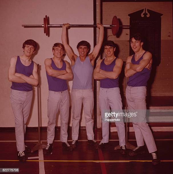 English pop group The Dave Clark Five posed at the YMCA gymnasium in London in 1964 From left to right Rick Huxley Lenny Davidson Dave Clark Denis...