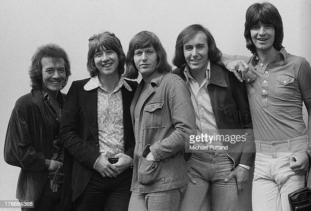 English pop group The Hollies 1st September 1973 Left to right singer Allan Clarke guitarist Tony Hicks drummer Bobby Elliott bassist Bernie Calvert...