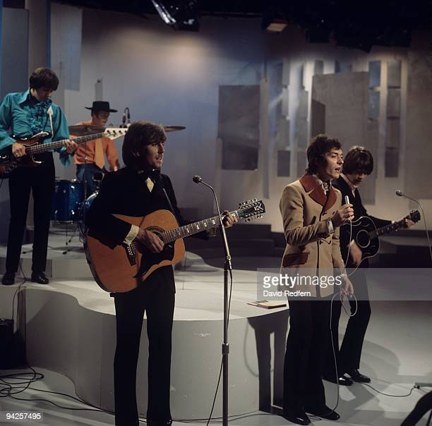 Bernie Calvert Graham Nash Bobby Elliott Allan Clarke and Tony Hicks of The Hollies perform on the 'Bobbie Gentry Show' filmed at BBC Television...