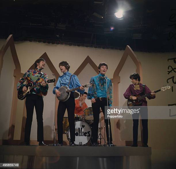 English pop group The Hollies perform on the television series 'The Morecambe and Wise Show' in 1968 From left to right Graham Nash Tony Hicks Bobby...