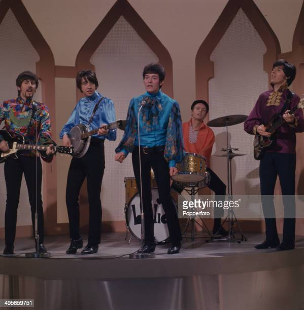 English pop group The Hollies perform on the television series 'The Morecambe and Wise Show' in 1968 Left to right Graham Nash Tony Hicks Allan...