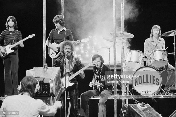 English pop group The Hollies performing on London Weekend Television's children's music show Supersonic at the South Bank Television Centre 1st...