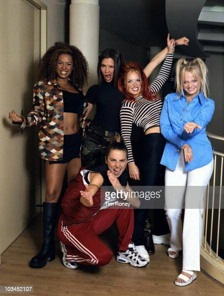 English pop group The Spice Girls Paris September 1996 Left to right Melanie Brown Victoria Beckham Geri Halliwell Emma Bunton and Melanie Chisholm...