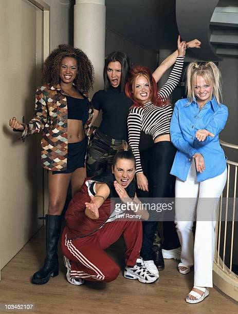 English pop group The Spice Girls Paris September 1996 Left to right Melanie Brown Victoria Beckham Geri Halliwell Emma Bunton and Melanie Chisholm...