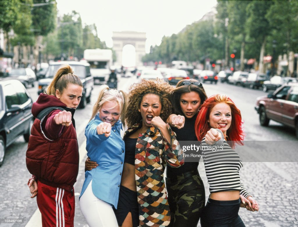 English pop group The Spice Girls, Paris, September 1996. Left to right: <a gi-track='captionPersonalityLinkClicked' href=/galleries/search?phrase=Melanie+Chisholm&family=editorial&specificpeople=159737 ng-click='$event.stopPropagation()'>Melanie Chisholm</a>, <a gi-track='captionPersonalityLinkClicked' href=/galleries/search?phrase=Emma+Bunton&family=editorial&specificpeople=201973 ng-click='$event.stopPropagation()'>Emma Bunton</a>, <a gi-track='captionPersonalityLinkClicked' href=/galleries/search?phrase=Melanie+Brown&family=editorial&specificpeople=159736 ng-click='$event.stopPropagation()'>Melanie Brown</a>, <a gi-track='captionPersonalityLinkClicked' href=/galleries/search?phrase=Victoria+Beckham&family=editorial&specificpeople=161100 ng-click='$event.stopPropagation()'>Victoria Beckham</a> and Geri Halliwell aka Sporty, Baby, Scary, Posh and Ginger Spice.
