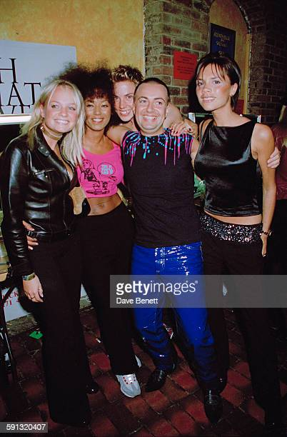 English pop group The Spice Girls with Welsh fashion designer Julien Macdonald at a Julien MacDonald fashion show at the Roundhouse in Camden during...