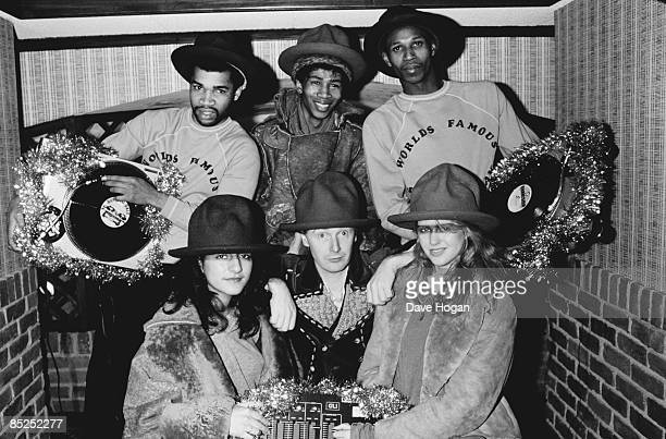 English pop impresario Malcolm McLaren rappers The World's Famous Supreme Team and models wearing items from designer Vivienne Westwood's 'Buffalo'...