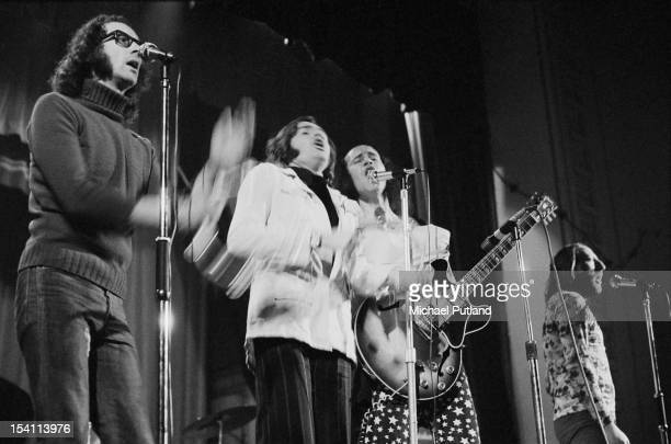 English pop poetry and comedy group Grimms performing at Watford Technical College Hertfordshire 3rd March 1972 The band features members of The...