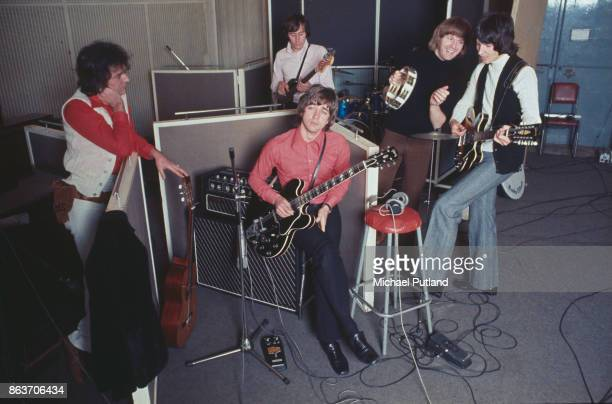 English pop rock group The Hollies circa 1973 Not in order singer Allan Clarke guitarist Tony Hicks drummer Bobby Elliott bassist Bernie Calvert and...