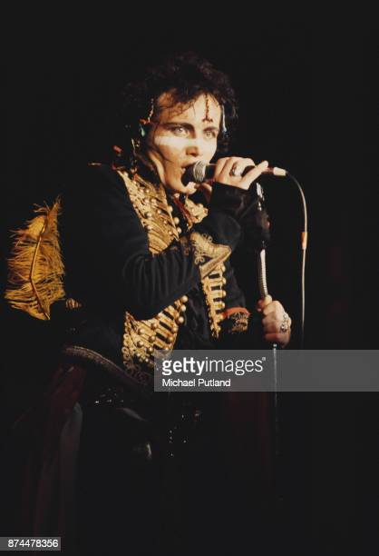 English pop singer Adam Ant of Adam And The Ants performing in London 1981