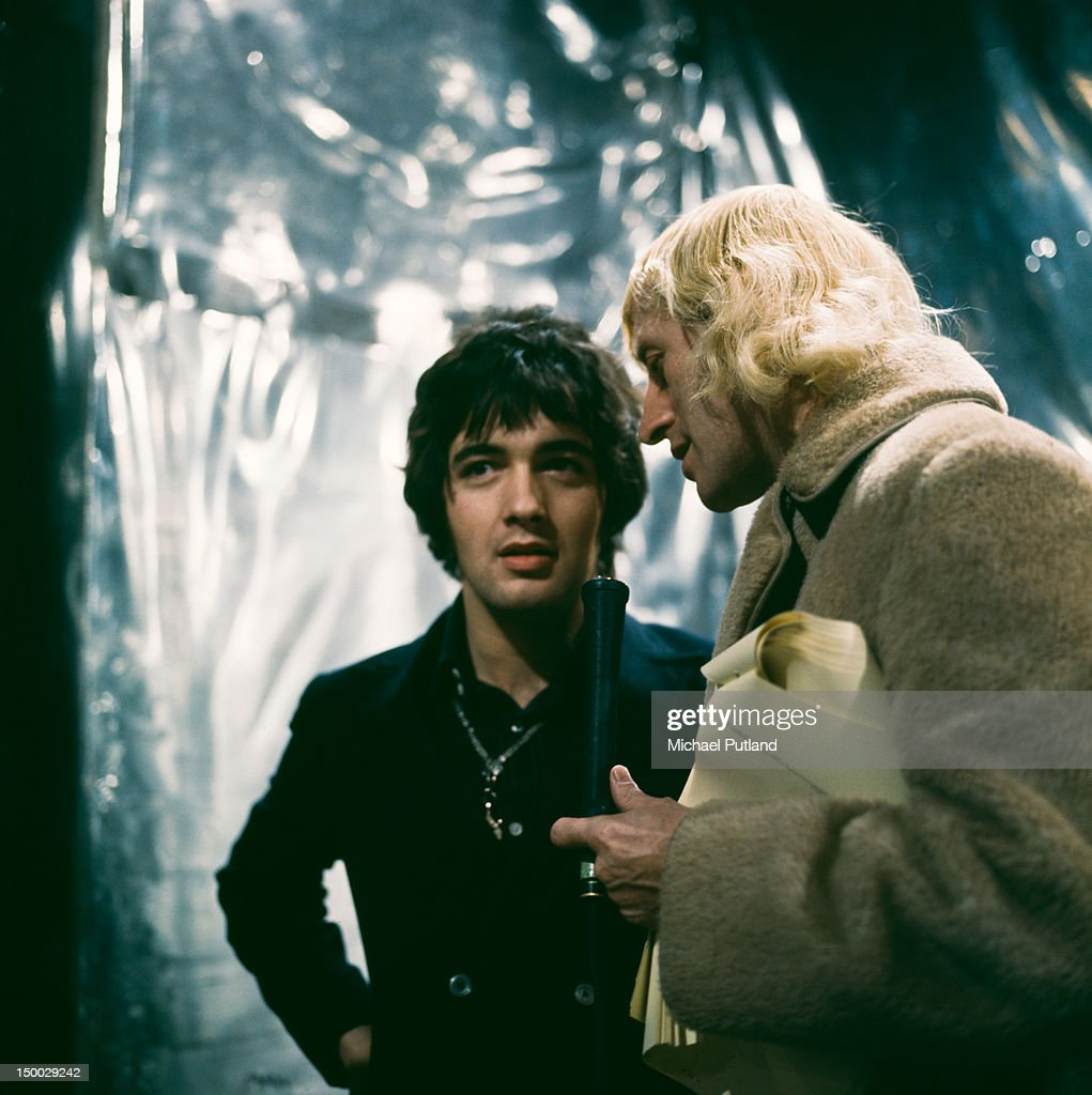 English pop singer Barry Ryan with presenter Jimmy Savile (1926 - 2011) on the BBC TV show 'Top Of The Pops', London, 13th February 1968.