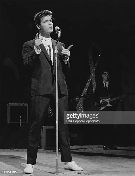 English pop singer Cliff Richard in a rehearsal with his band The Shadows for the TV show 'Sunday Night At The London Palladium' January 1960 On the...