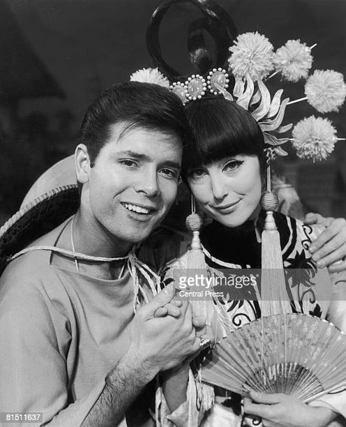 English pop singer Cliff Richard with actress Una Stubbs during rehearsals for the pantomime 'Aladdin And His Wonderful Lamp' at the London Palladium...