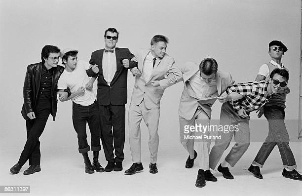 English pop/ska band Madness during the cover shoot for their album '7' London 1981 Left to right Chris Foreman Lee Thompson Mike Barson Chas Smash...