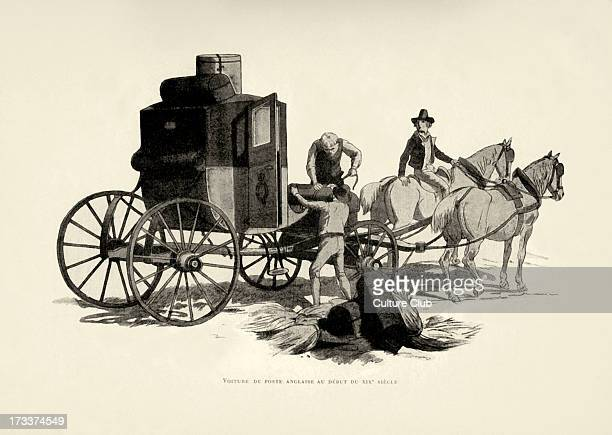 English post carriage at beginning of 19th century Artist unknown