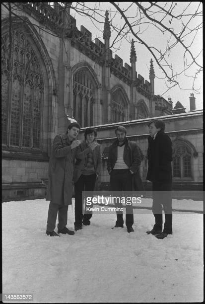 English post punk band Joy Division pose outside a church in Manchester 6th January 1979 Left to right Ian Curtis Stephen Morris Peter Hook and...