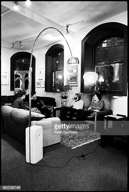 English postpunk band Joy Division in an art and furniture shop Manchester 6th January 1979 Left to right singer Ian Curtis guitarist Bernard Sumner...