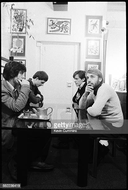English postpunk band Joy Division in an art and furniture shop Manchester 6th January 1979 Left to right drummer Stephen Morris singer Ian Curtis...