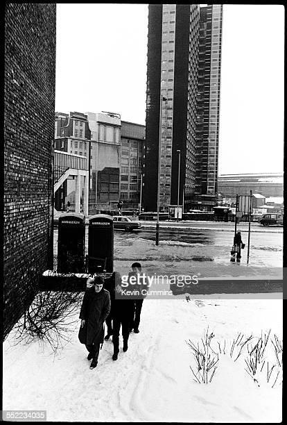 English postpunk band Joy Division in Hulme Manchester 6th January 1979 Front to back singer Ian Curtis guitarist Bernard Sumner bassist Peter Hook...