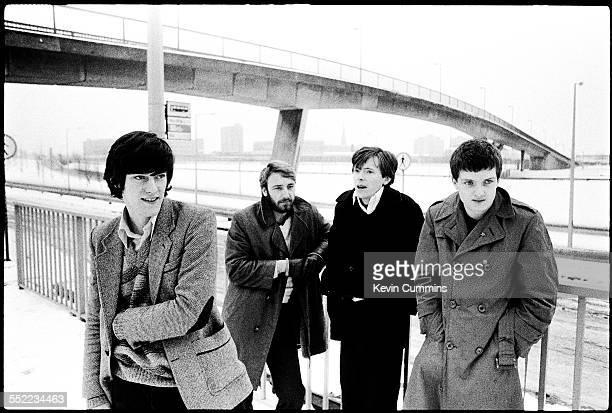 English postpunk band Joy Division in Hulme Manchester 6th January 1979 Left to right drummer Stephen Morris bassist Peter Hook guitarist Bernard...