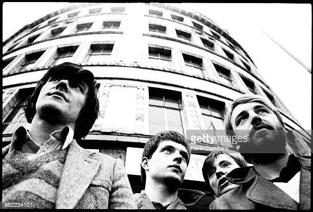 English postpunk band Joy Division in Manchester 6th January 1979 Left to right drummer Stephen Morris singer Ian Curtis guitarist Bernard Sumner and...