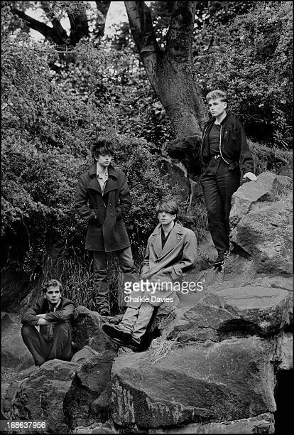 English postpunk group Echo And The Bunnymen photographed in Liverpool 1981 Left to right drummer Pete de Freitas singer Ian McCulloch guitarist Will...
