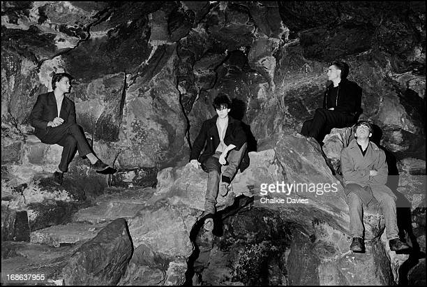 English postpunk group Echo And The Bunnymen photographed in Liverpool in 1981 Left to right drummer Pete de Freitas singer Ian McCulloch bassist Les...