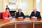 English Prime Minister Theresa May meets with Minister of Northern Ireland Arlene Foster and deputy First Minister of Northern Ireland Martin...