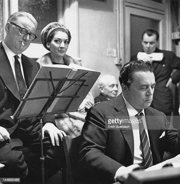 English producer Walter Legge at a recording session for Donizetti's 'Lucia di Lammermoor' with Americanborn Greek soprano Maria Callas 20th March...