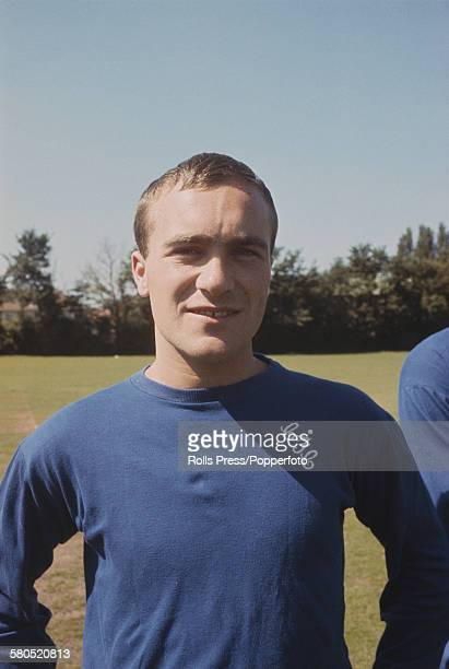 English professional footballer and defender with Chelsea Football Club Ron Harris posed at Chelsea's training ground at the start of the 196667...