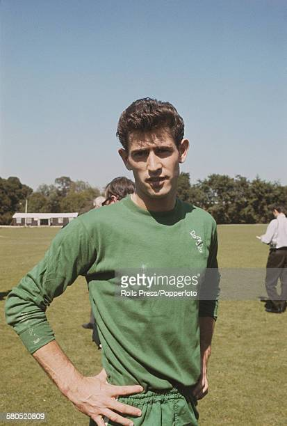 English professional footballer and goalkeeper with Chelsea Football Club Peter Bonetti posed at Chelsea's training ground at the start of the 196667...