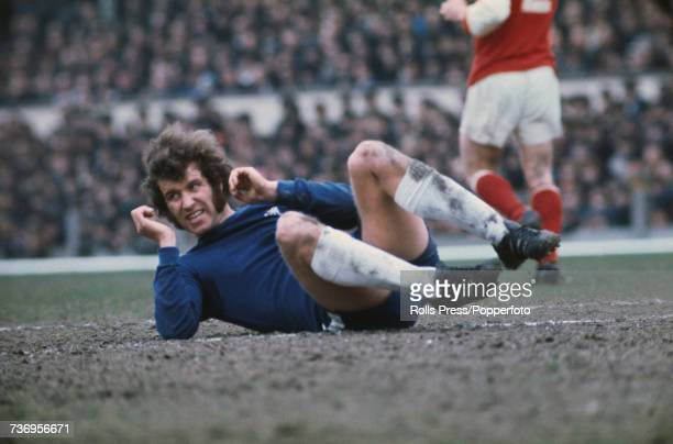 English professional footballer and striker with Chelsea Football Club Peter Osgood pictured in action on the pitch during the League Division 1 game...