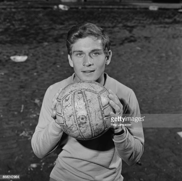 English professional footballer Dave Metchick of Fulham FC holding a soccer ball UK 4th September 1964