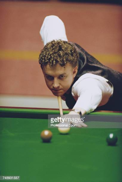 English professional snooker player Martin Clark pictured in action during competition in the 1993 Embassy World Snooker Championship at the Crucible...