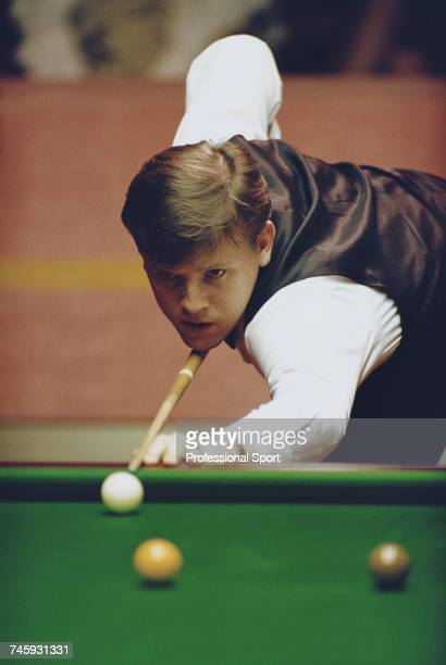 English professional snooker player Neal Foulds pictured in action during competition in the 1993 Embassy World Snooker Championship at the Crucible...