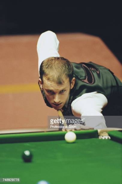 English professional snooker player Peter Ebdon pictured in action during play in the 1996 Embassy World Snooker Championship at the Crucible Theatre...