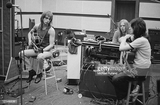 English progressive rock band Yes recording their 'Fragile' LP at Advision Studios in London 20th August 1971 From left to right guitarist Steve Howe...