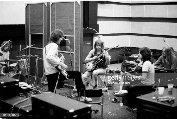 English progressive rock band Yes recording their 'Fragile' LP at Advision Studios in London 20th August 1971 From left to right drummer Bill Bruford...