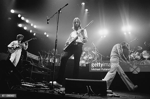 English progressive rock group Genesis performing at the Broome County Veterans Memorial Arena Binghamton New York USA 28th March 1978 Left to right...